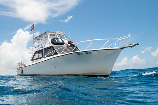 Narcosis is a spacious Pro 48 Custom Dive Boat used for SCUBA charter trips in West Palm Beach
